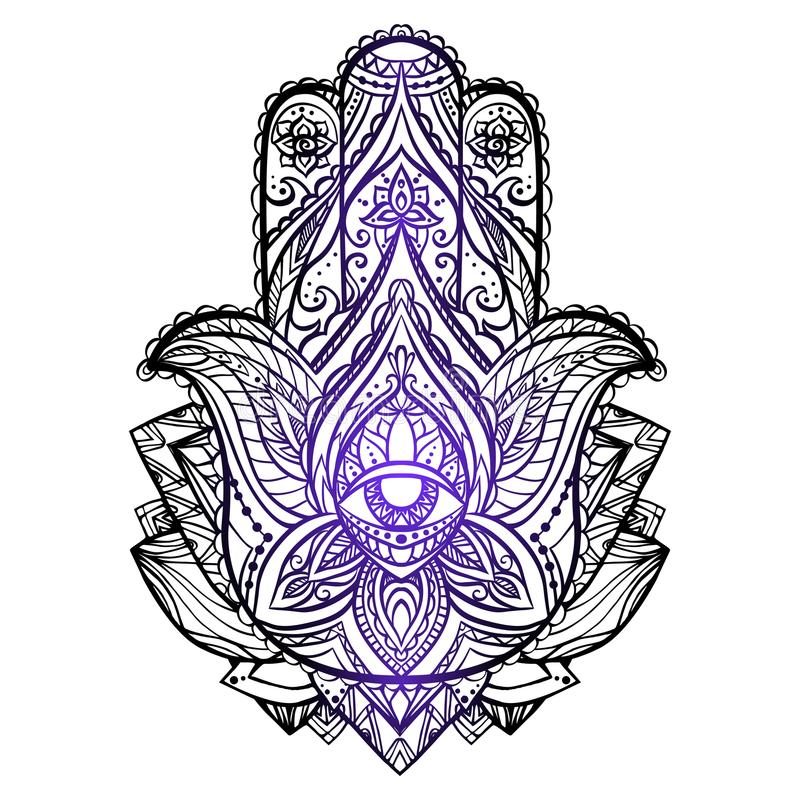Download Illustration Of Hamsa With Boho Pattern Buddhas Hand Stock Vector