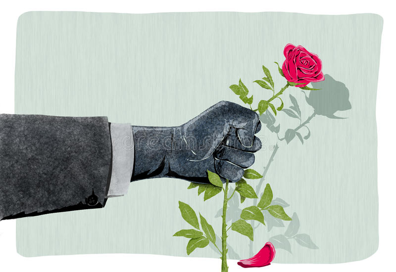 Illustration Of Hand That Breaks A Rose As A Symbol Of Violence