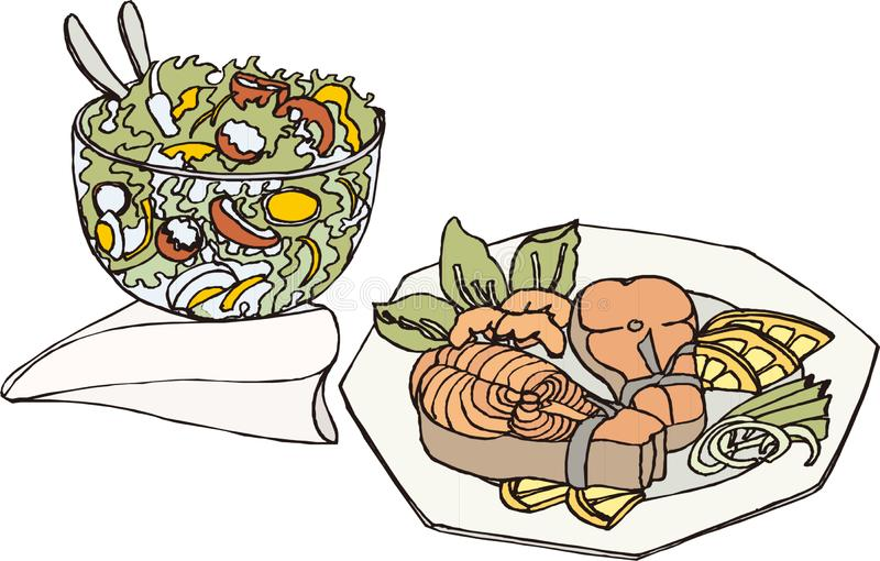 Illustration, hand drawn and art, food, fruit salad and a stack of fish stock illustration