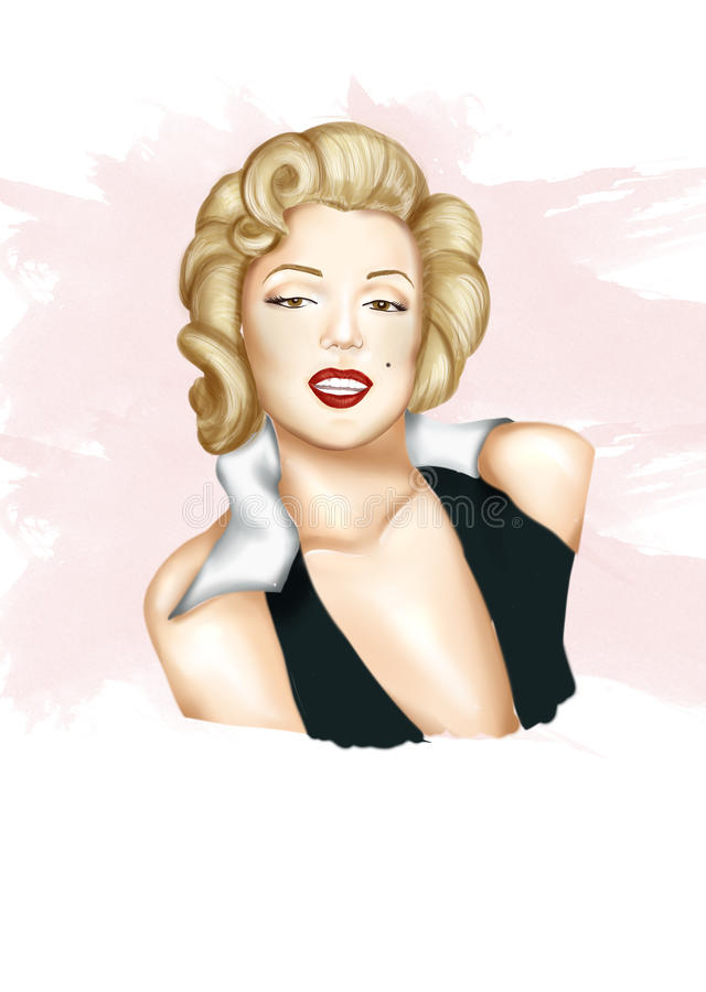 Illustration - Hand drawn portrait of actress Marilyn Monroe. Illustration - Hand drawn portrait of Marilyn Monroe royalty free illustration