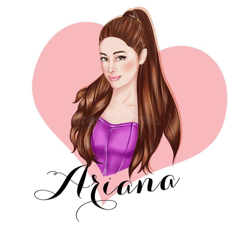 Illustration - Hand drawn portrait of singer Ariana Grande vector illustration