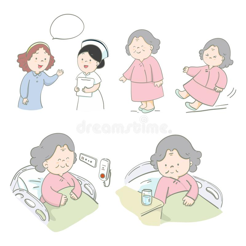 Illustration hand drawn set characters senior patient care. Vector design stock illustration