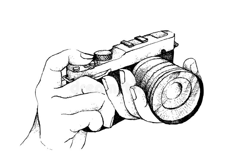 Line Art Hand : Hand drawn of photographer holding camera on white background