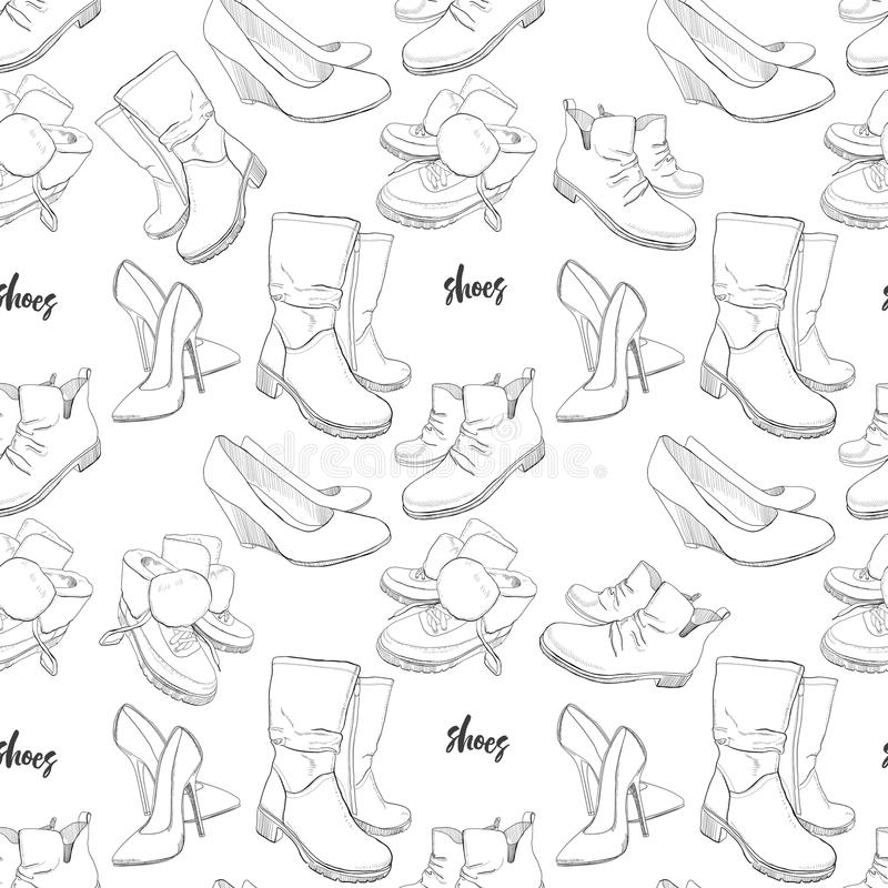Illustration of Hand drawn sketch seamless pattern of Shoes . Sneakers, boots, high shoe, snow boots. for casual female stock illustration