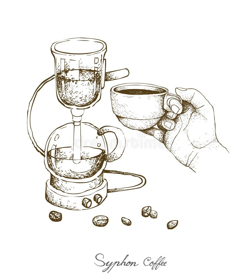 Hand Holding A Shot of Coffee with Syphon Coffee Maker. Illustration Hand Drawn Sketch of Vacuum Coffee Maker or Syphon Coffeemaker Isolated on White Background stock illustration