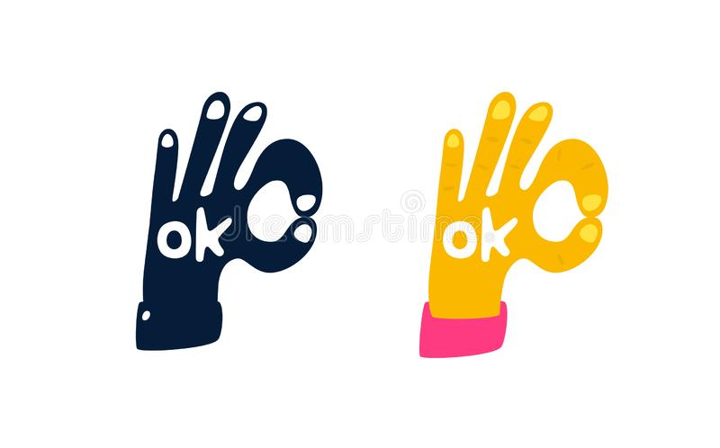 Illustration of a hand in the form of an Ok symbol. Vector. Logo for the company. Motivational sign. Colored hand and black royalty free illustration