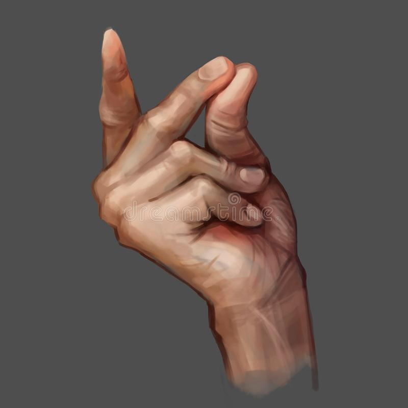 Illustration of a hand on a grey background stock illustration