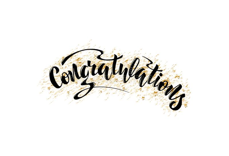 Illustration with hand lettering - Congratulations. Black text. Illustration with hand lettering - Congratulations. Black text on a golden background. Drawn art royalty free stock photos