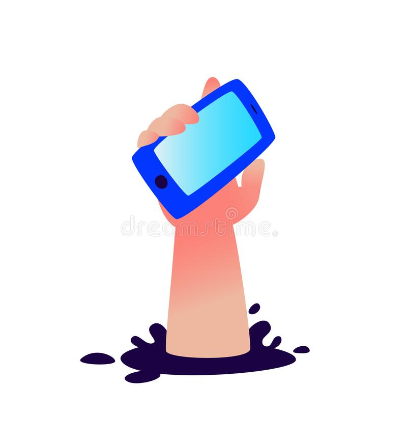 Illustration of a hand with a smartphone sticking out of a hole. Vector. Fail. Gadgets like a drug. Image is isolated on a white royalty free illustration