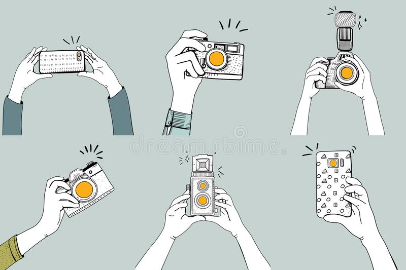 Illustration of hands clicking pictures with digital devices royalty free illustration
