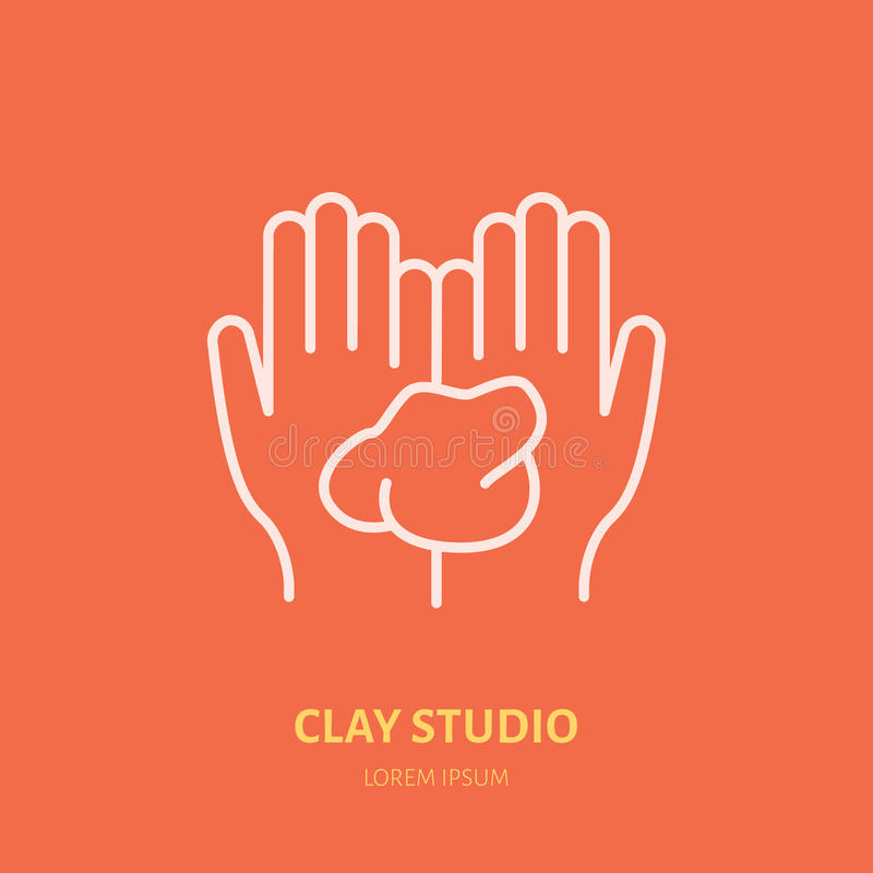 Illustration of hands holding clay. Pottery workshop, ceramics classes line icon. Clay studio sign. Hand building stock illustration