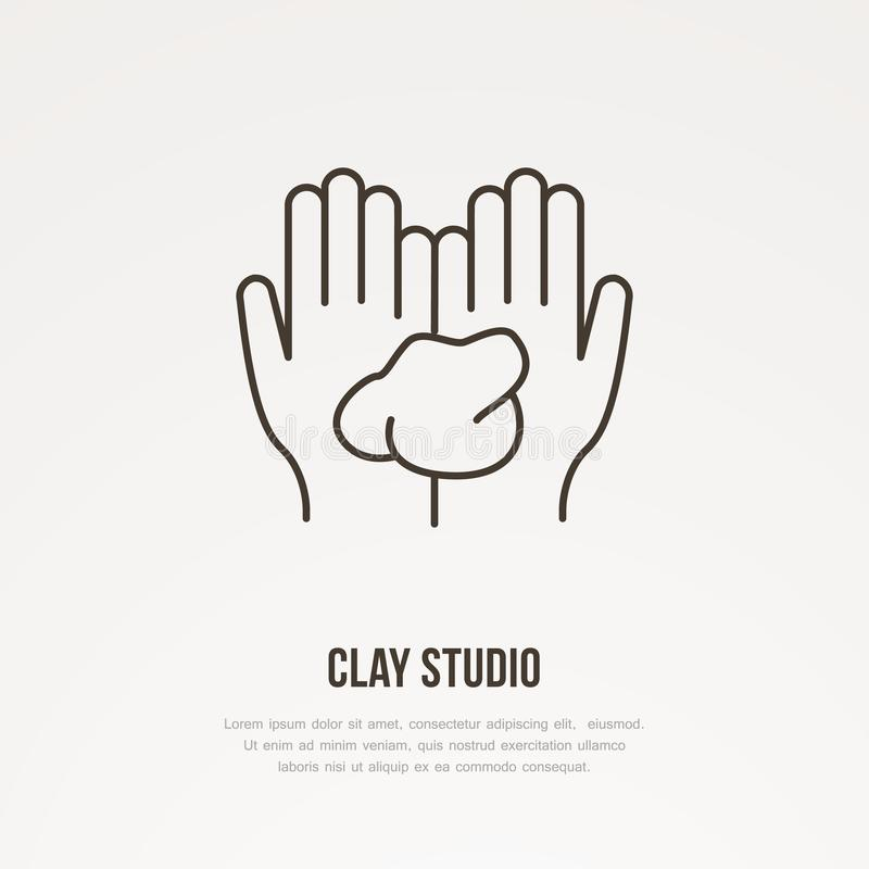 Illustration of hands holding clay. Pottery workshop, ceramics classes line icon. Clay studio sign. Hand building vector illustration