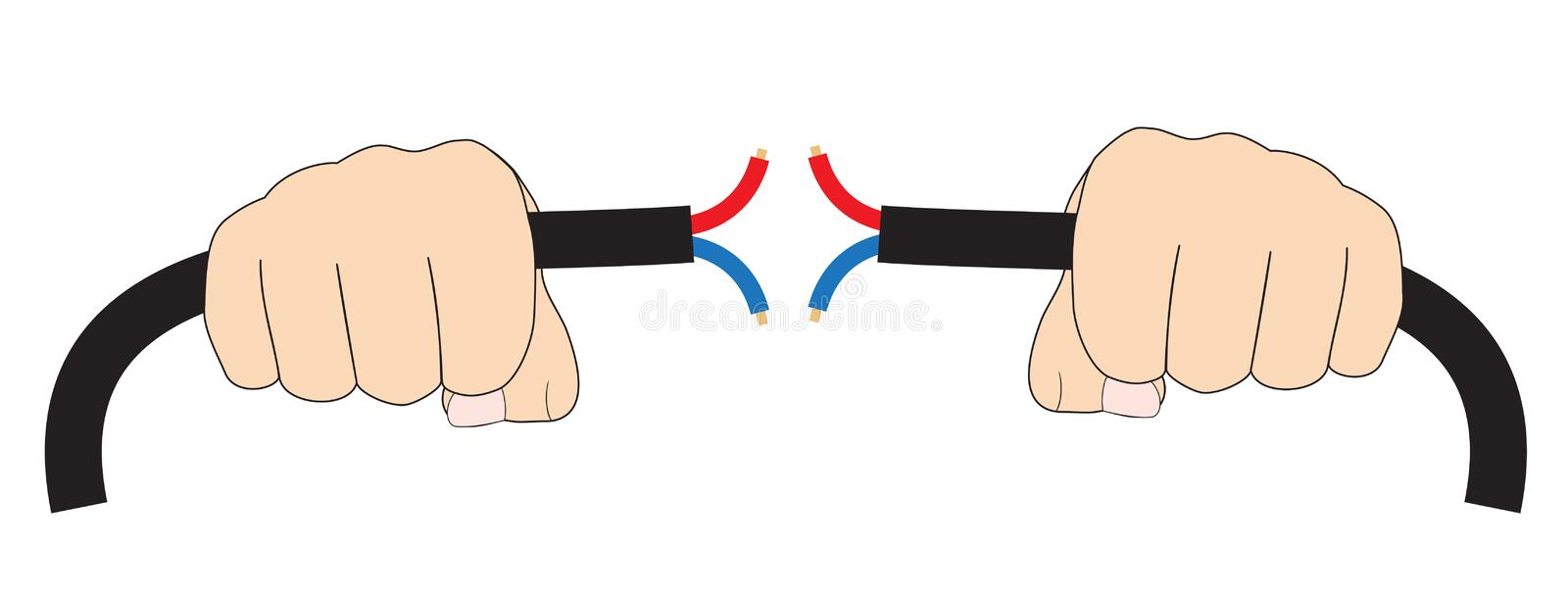 Hands with electric cable royalty free illustration