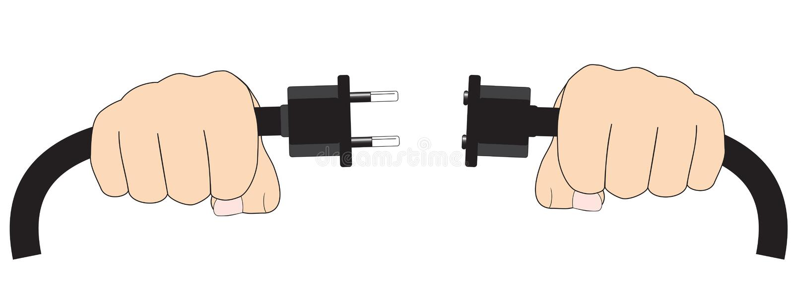 Hands with electric cable vector illustration