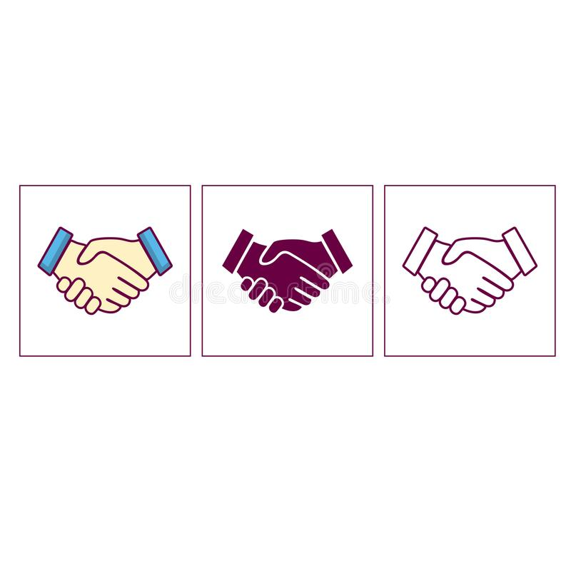 Illustration handshake business cooperation agreement of two hands royalty free illustration