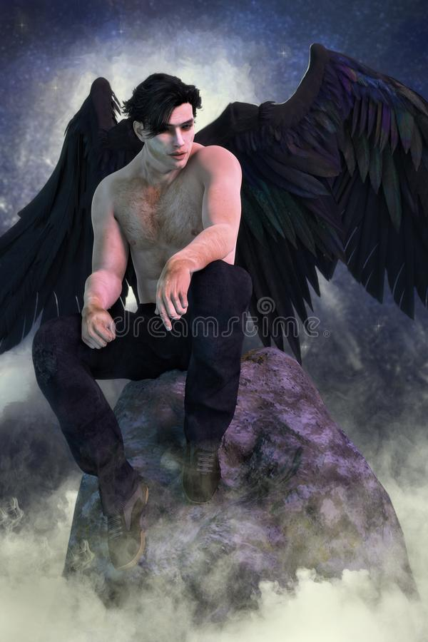 Illustration of Handsome Dark Angel Sitting on a High Rock in the Clouds. Digital 3D illustration of handsome dark angel seated in a rock high in the clouds. He royalty free illustration