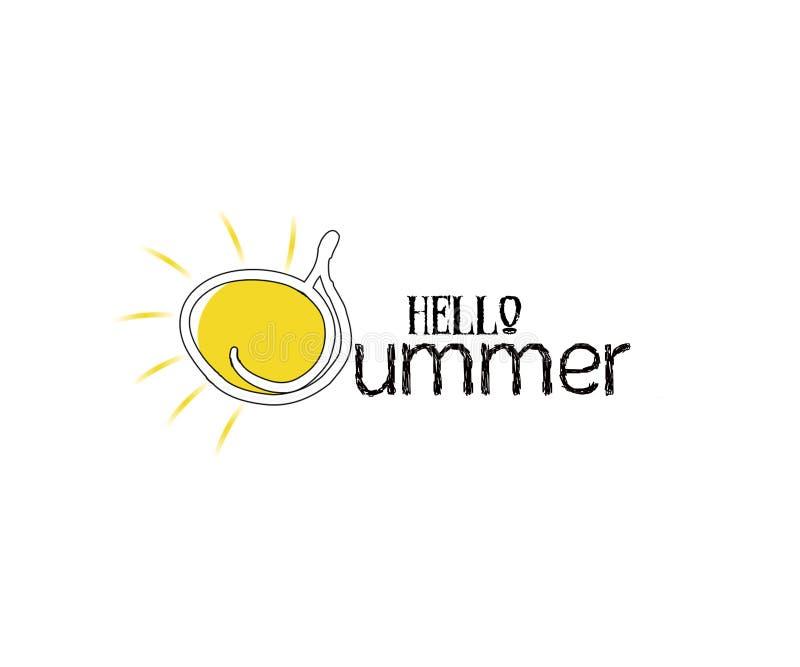 Illustration: Handwritten type lettering of Hello Summer royalty free illustration