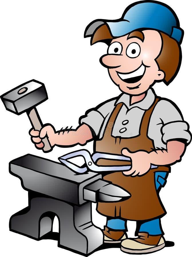 Illustration of an Happy Blacksmith Worker royalty free illustration
