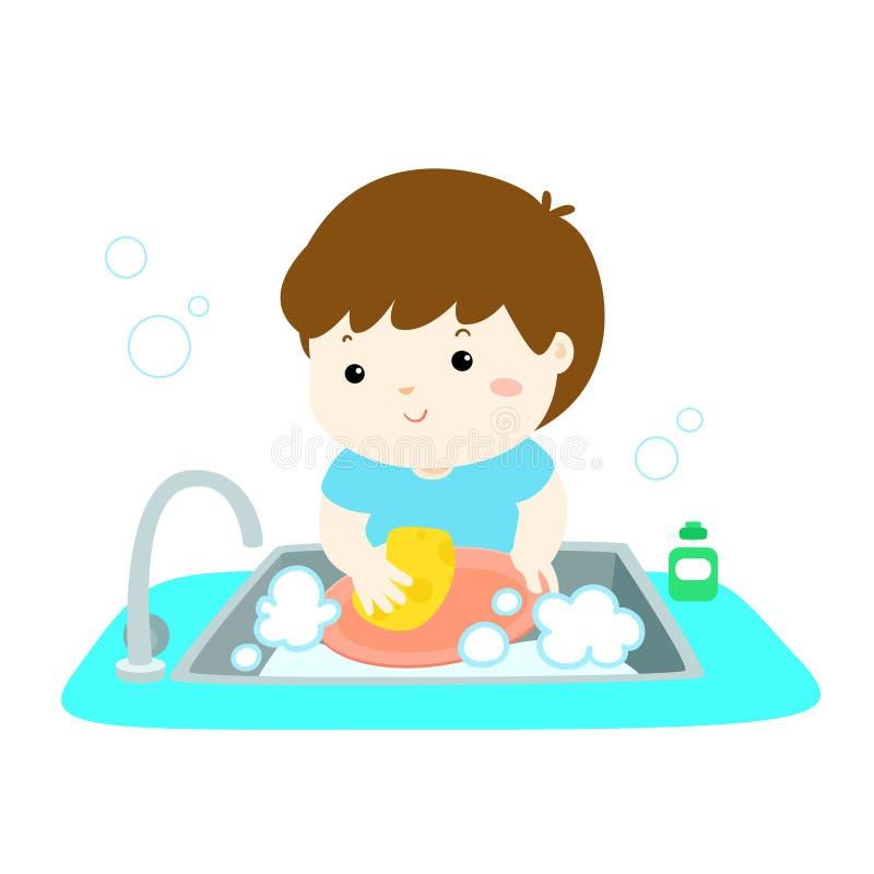 Illustration of happy boy washing dish on white background. Illustration of happy boy washing dish on white background vector illustration