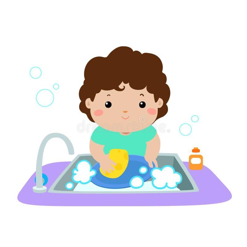 Illustration of happy boy washing dish on white background. Illustration of happy boy washing dish on white background stock illustration