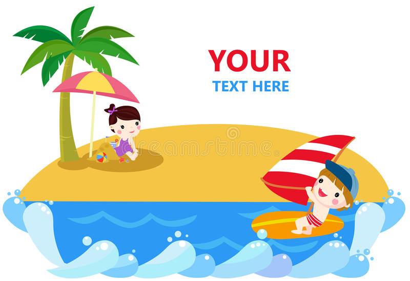 Happy children and happy summer royalty free illustration