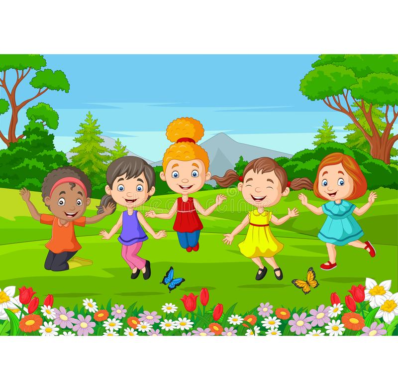 Happy children jumping on the park. Illustration of Happy children jumping on the park stock illustration