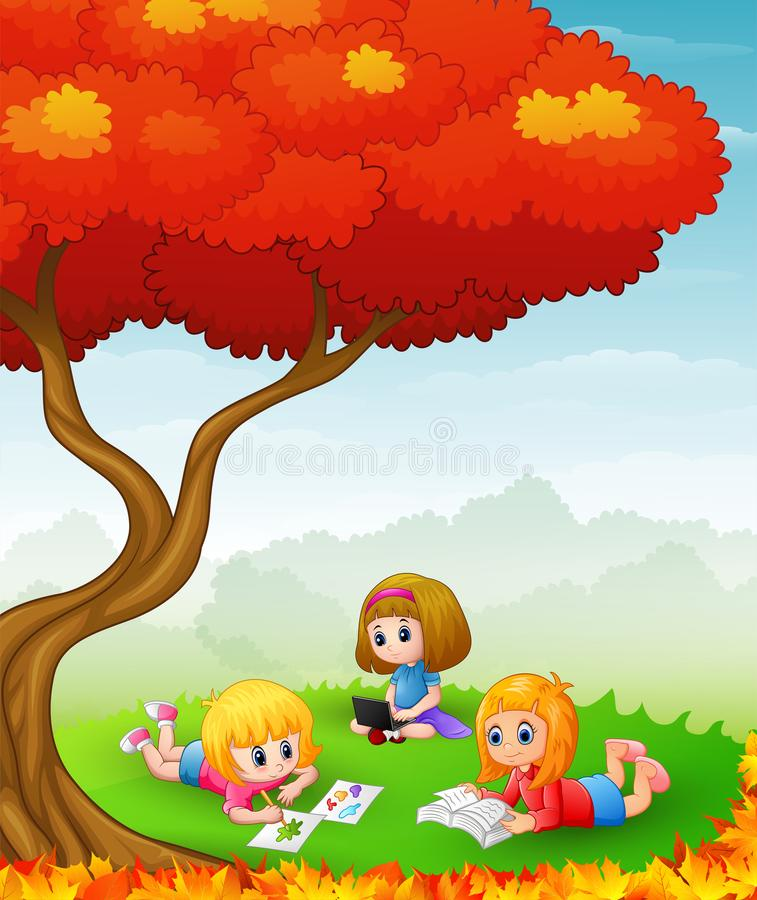 Happy children studying in the autumn trees royalty free illustration