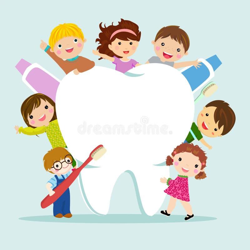 Children and teeth stock illustration