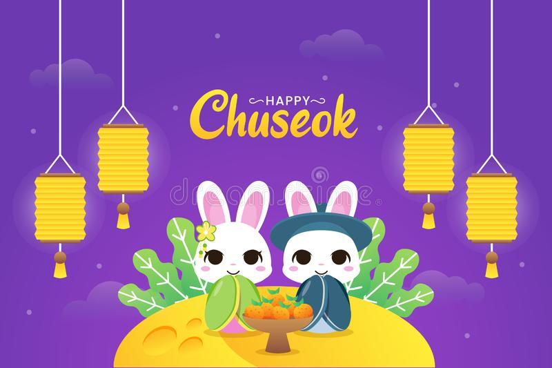 Illustration of Happy chuseok with couple cute rabbit sitting in the moon with lanterns and oranges. Illustration of Happy chuseok with couple cute rabbit royalty free illustration