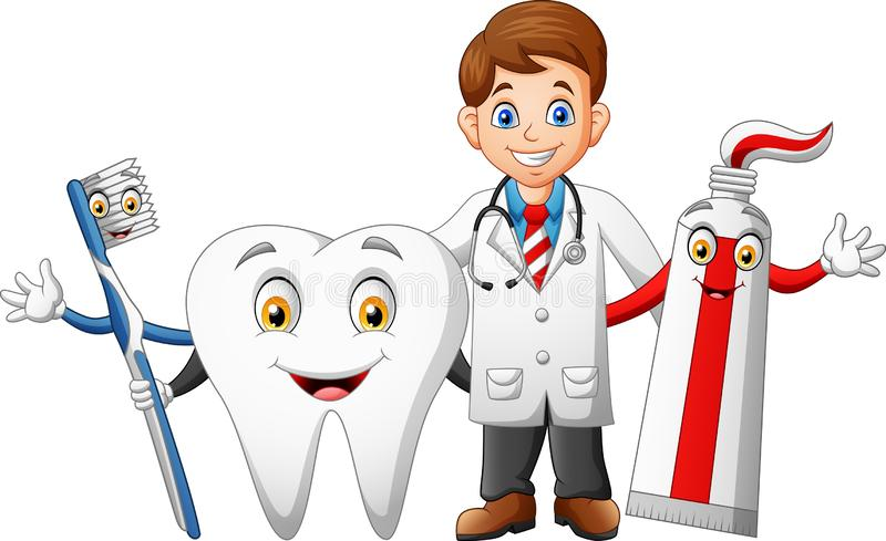 Happy doctor cartoon, teeth, toothpaste and toothbrushes. Illustration of happy doctor cartoon, teeth, toothpaste and toothbrushes royalty free illustration