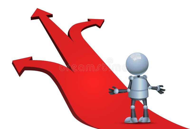 Little robot choosing direction arrow stock illustration
