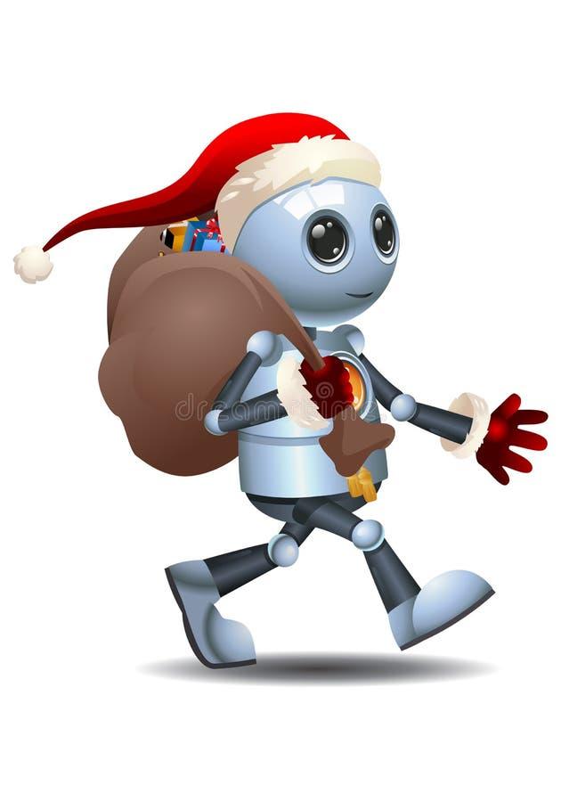 Little robot delivering santa gift. Illustration of a happy droid little robot delivering santa gift on isolated white background stock illustration
