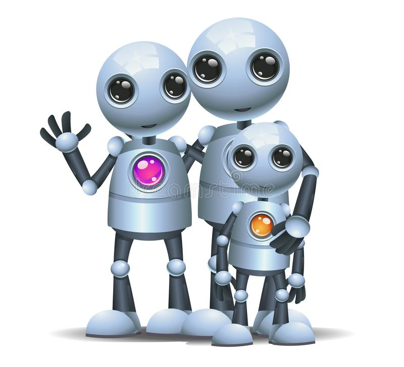 Happy droid little robot family on isolated white vector illustration