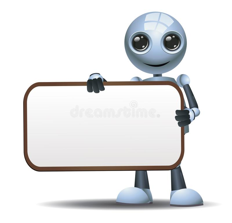 Little robot hold blank sign board. Illustration of a happy droid little robot hold blank sign board on isolated white background stock illustration