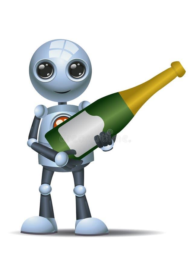 Little robot hold champagne bottle vector illustration
