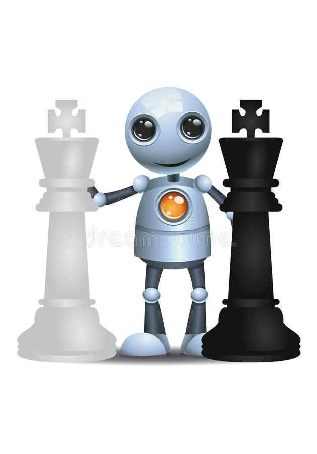 Little robot hold chess piece. Illustration of a happy droid little robot hold chess piece on isolated white background stock illustration