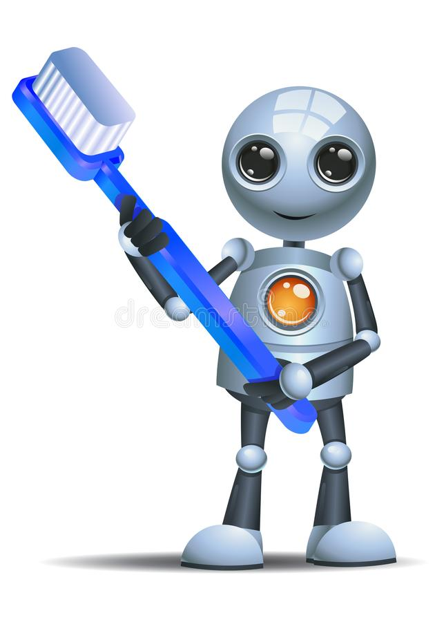 Little robot hold giant tooth brush royalty free illustration
