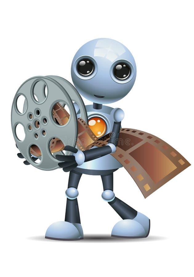 Little robot hold movie reel. Illustration of a happy droid little robot hold movie reel on isolated white background vector illustration