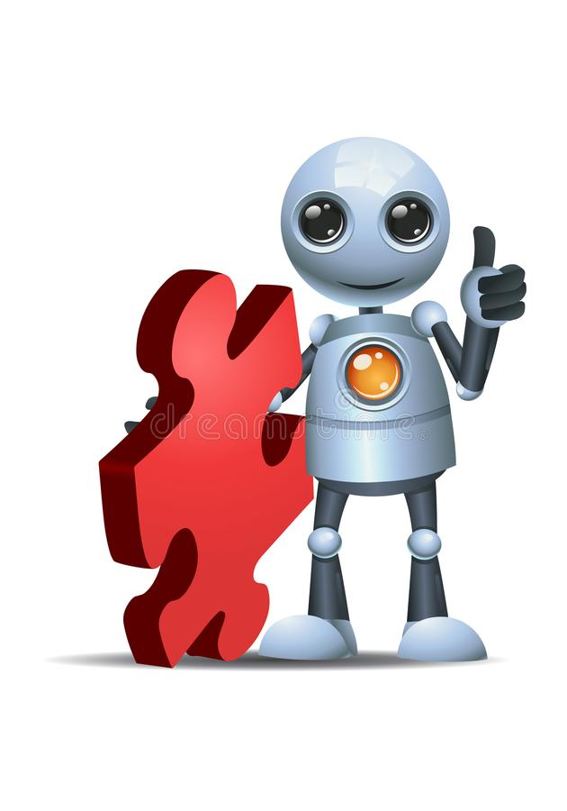 Little robot hold puzzle piece. Illustration of a happy droid little robot hold puzzle piece on isolated white background royalty free illustration