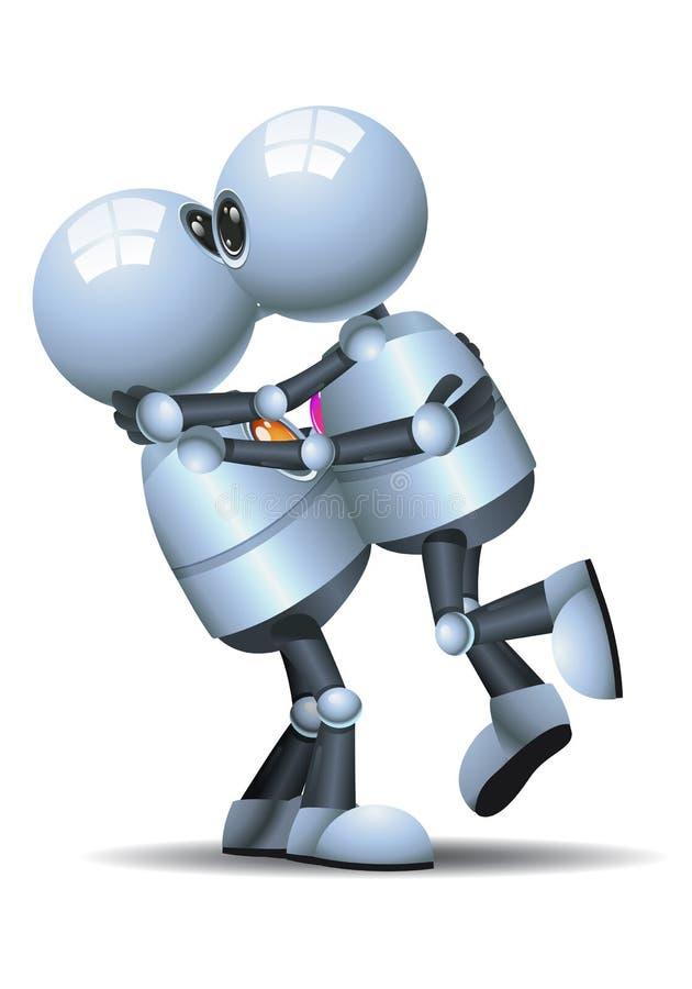 Little robot kissing on isolated white background vector illustration