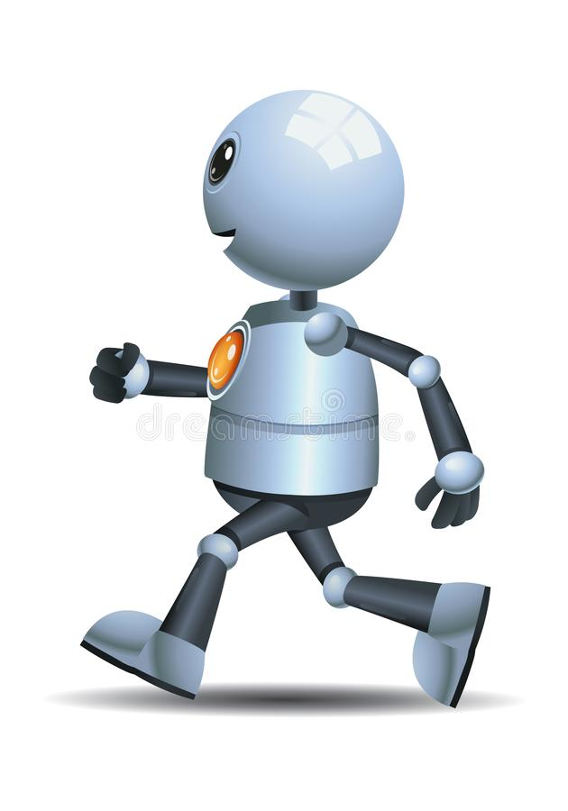 Little robot running on isolated white background. Illustration of a happy droid little robot running on isolated white background vector illustration