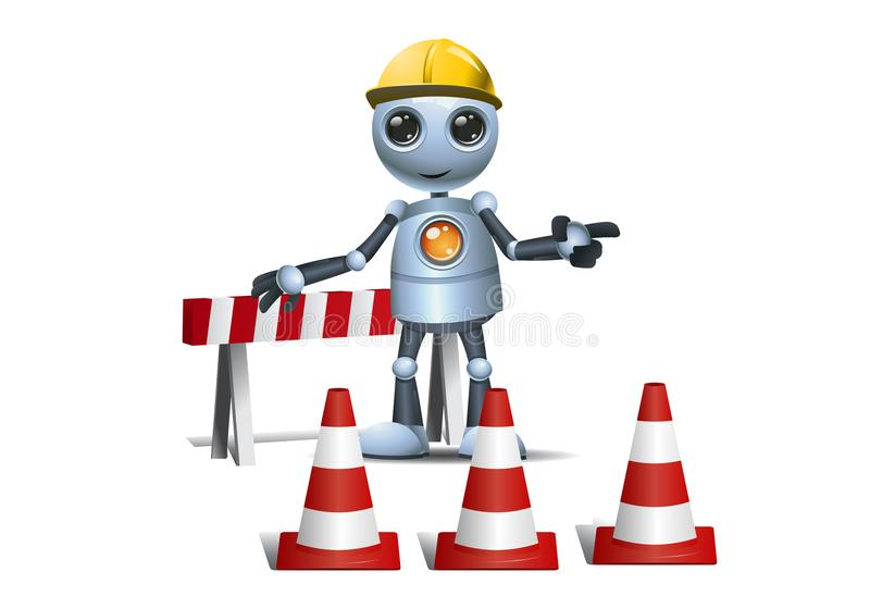 Little robot on under construction site. Illustration of a happy droid little robot on under construction site on isolated white background royalty free illustration