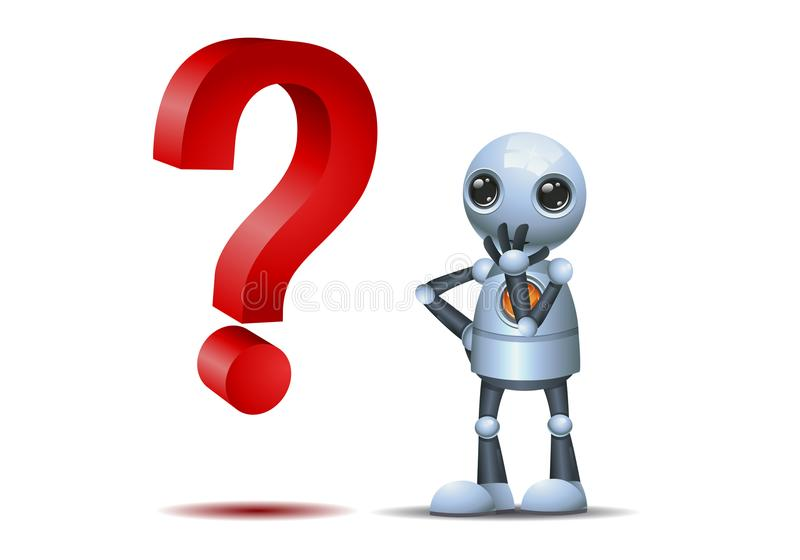 Little robot watch a question symbol stock illustration