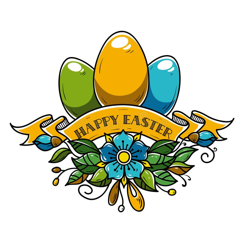 Illustration for Happy Easter. Holiday eggs decorated of ribbon and flowers. Template for holiday banner royalty free illustration