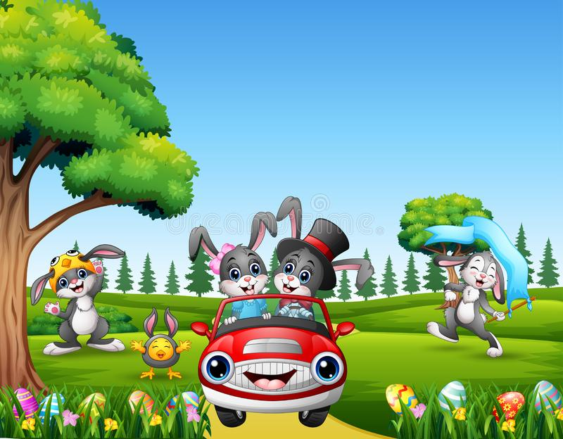 Happy easter rabbit riding a car on the beautiful nature vector illustration