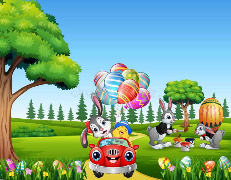 Happy easter rabbit riding a car with chick holding decorated balloons stock illustration