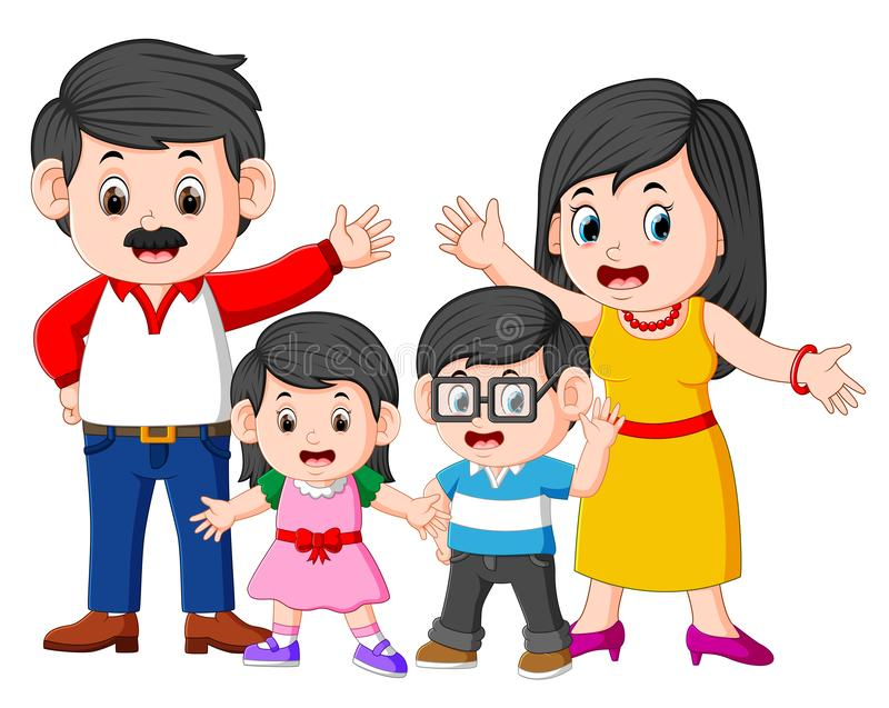 The happy family is doing posing with the good expression. Illustration of the happy family is doing posing with the good expression royalty free illustration