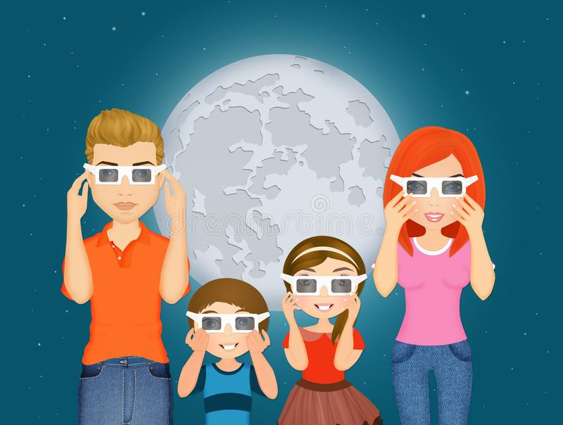 Happy family look the eclipse. Illustration of happy family look the eclipse stock illustration