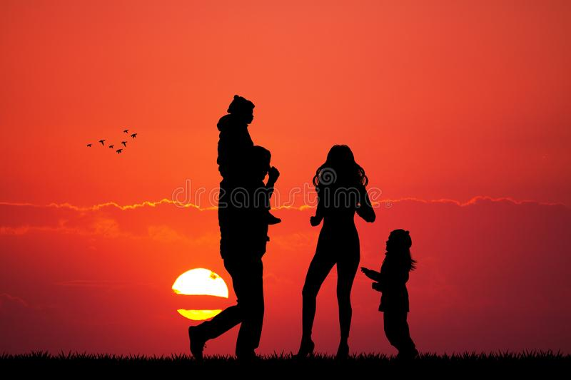 Happy family looking the sunset. Illustration of happy family looking the sunset stock illustration