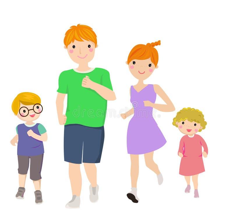 Happy family running vector illustration